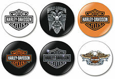 6 x Harley Davidson 32mm BUTTON PIN BADGES Motorcycles Harley-Davidson Crest