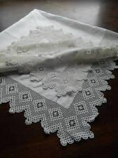 "Antique Victorian white Irish linen tablecloth - hand crochet lace - 42"" sq"