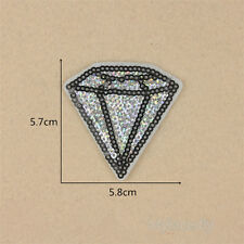 Diamond Sequins Embroidered Sew Iron On Patch Badge Fabric Applique Lace Trim