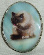 "Lacquer brooch Mother of pearl "" Seal point cat "" miniature Hand Painted Pin"