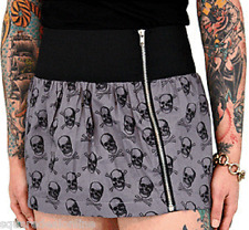 77305 I Want Yer Skull Gray Zip Skirt Sourpuss Crossbones Punk Rock X-Large XL