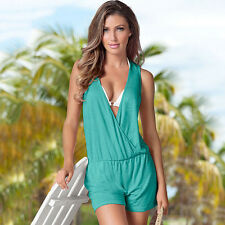 Celeb Women Casual Playsuit Boho Top Shorts Mini Jumpsuit Summer Beach Sun Dress