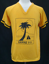 VTG 70's/80's ''Hawaii 90' Surfing 50/50 Yellow V-Neck T-Shirt Made in USA Sz L