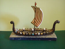 Viking longship drakkar painted ship model BNIB 15 cm boat figure