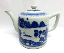 Antique Mid 1800's Chinese Blue Canton Hand Painted Porcelain Teapot