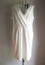 NWT NEW WITH TAGS Size 16 BASQUE WHITE / IVORY LINED COTTON SHORT DRESS RRP $149