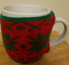NEW Coffee Tea Milk 18 OZ. Mug Cup RED W/ GREEN Snowflakes Sweater W/Buttons
