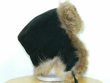MEN RACCOON FUR RUSSIAN CHAPKA TRAPPER HAT SUEDE LEATHER TOP Sz. 23'' M n296