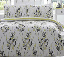Lime Green Floral Double Duvet & Pillowcases Bedding Cover Set 100% Cotton