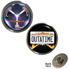 2 PACK Flux Capacitor & OUTATIME Licence Plate Pin Badges time travel NEW