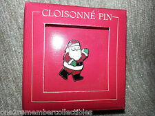 HALLMARK Cloisonne Pin Back SANTA CLUAS BROOCH Sharp Point CHRISTMAS Vintage NEW