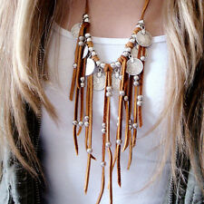 Fashion Women Boho Chic Faux Suede Coin Beads Tassel Pendant Sweater Necklace
