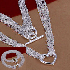 NEW Jewelry silver net heart chain necklace beauty fashion lady hot
