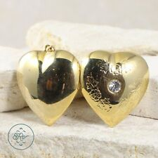 Gold Plated | Floral Rhinestone Heart Photo Locket (Opens!) 13g | Pendant AI7619