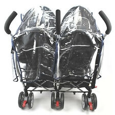 Buggy Pushchair Stroller Double Side-by-side Pram Clear Rain Cover