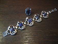 tolles 70er Jahre Schmuckset 2teilig Armband + Ring silber Amethyst Panthon Ära