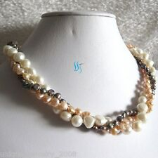 """18"""" 4-9mm 3Row Multi Color Baroque Freshwater Pearl Necklace C"""