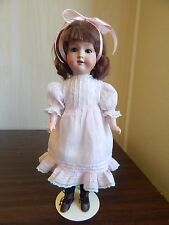 "Armand Marseilles 390 German 14.5"" Bisque Head Doll w/Stick Body, Antique Dress"
