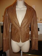 BEAUTIFUL NEW WASHED BROWN LEATHER JACKET BY FORNARINA