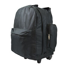 "Every Day Carry Black 17"" Heavy Duty Rolling Backpack w/ Collapsible Handle"