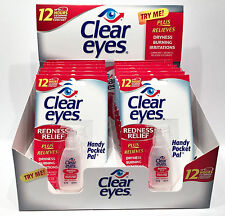12 Pack BOX CLEAR EYES DROPS REDNESS RELIEF X12 PACKS 0.2 OZ .6 ML EXP 4/2019