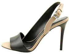NEW COACH GLADIS SZ 6.5 OPEN TOE BLACK/tan LEATHER SLINGBACK SANDAL HEEL