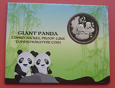 Singapore 2012 Giant Panda 2 Dollars Copper-Nickel Proof-Like Coin in Card