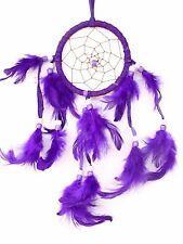 NEW PURPLE DREAM CATCHER HANDMADE W/ LEATHER & FEATHER CAR OR WALL DECOR