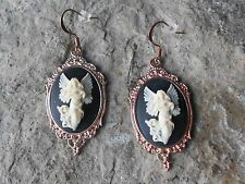 FLYING ANGEL CAMEO ROSE GOLD TONE COPPER EARRINGS - QUALITY - UNIQUE - RELIGIOUS
