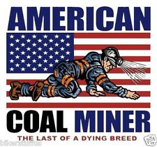 AMERICAN COAL MINER THE LAST OF A DUING BREED HARD HAT STICKER WITH US FLAG