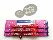 "ANCOL Cat Collar "" I Am Microchipped ""  with a  FREE ENGRAVED PET ID TAG + Ring"