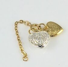 Vintage Joan Rivers Queen Of Romania Faberge Double Heart Egg Charm + Ext Chain
