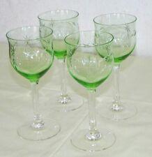 4 Gläser Weingläser grünes geschliffenes Glas Art Dèco 1920/30