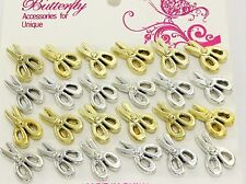 Metallic scissor post stud earrings 12pr 100% plastic crafter gold silver a