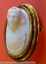 small 14k yellow gold Victorian hand carved white Cameo Brooch