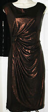 NEW Connected Apparel Women's Metallic Ruched Sleeveless Dress Black/Copper-10