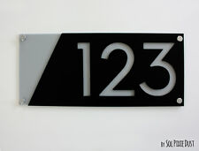 Modern House Numbers, Black with Gray Acrylic - Sign Plaque - Door Number