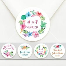 100 x Personalised Tropical Themed Circle Wedding Bomboniere Sticker Labels