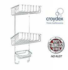 CROYDEX 3 TIER STAINLESS STEEL CORNER SHOWER RACK CADDY BATHROOM SHELF ORGANIZER
