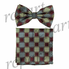 Men's Pre-tied Bow Tie & hankie set squares checkered burgundy gray green party