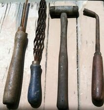 Lot 4 Antique Wooden Primitive Tools Piano Tuner Hammer Orig Blue Paint RARE
