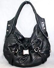 B MAKOWSKY Large Black Leather Studded Slouch Hobo Shoulder Bag