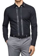 Calvin Klein NEW Black Mens Size 2XL Button Down Striped Seamed Shirt $79 #190