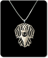 Halskette Set Kette + Anhänger Hund Versilbert Langhaardackel Dackel dachshund