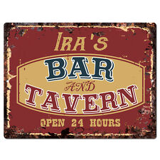 PPBT0351 IRA'S BAR and TAVERN Rustic Tin Chic Sign Home Store Decor Gift