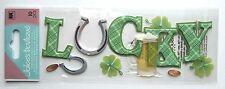 Lucky Title St. Patrick's Day  Beer Horseshoes Gold Coins Jolee's 3D Sticker