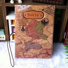 Leather World Trip Map Travel Passport Cover Holder Pockets ID Bag Folder Case