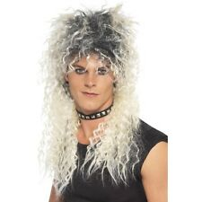 Men's 80's Blonde Pop Star Wig Bon Jovi Guns Roses Rocker Fancy Dress Mullet