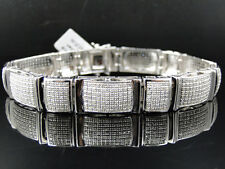 Mens Pave 12 MM White Gold Finish Round Cut Genuine Diamond Bracelet 3 Ct