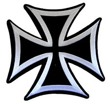 Big Black & White Iron Cross Motorcycles Embroidered Iron on Patch Free Shipping